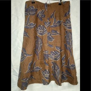 Brown and Blue Linen (with lining) H&M Skirt